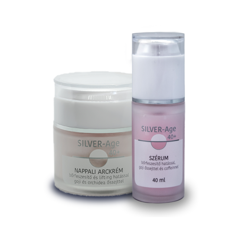Silver-Age 40+ nappali arckrém 50 ml + Silver-Age 40+ 2in1 szérum, szemkörnyékápoló 40 ml csomag